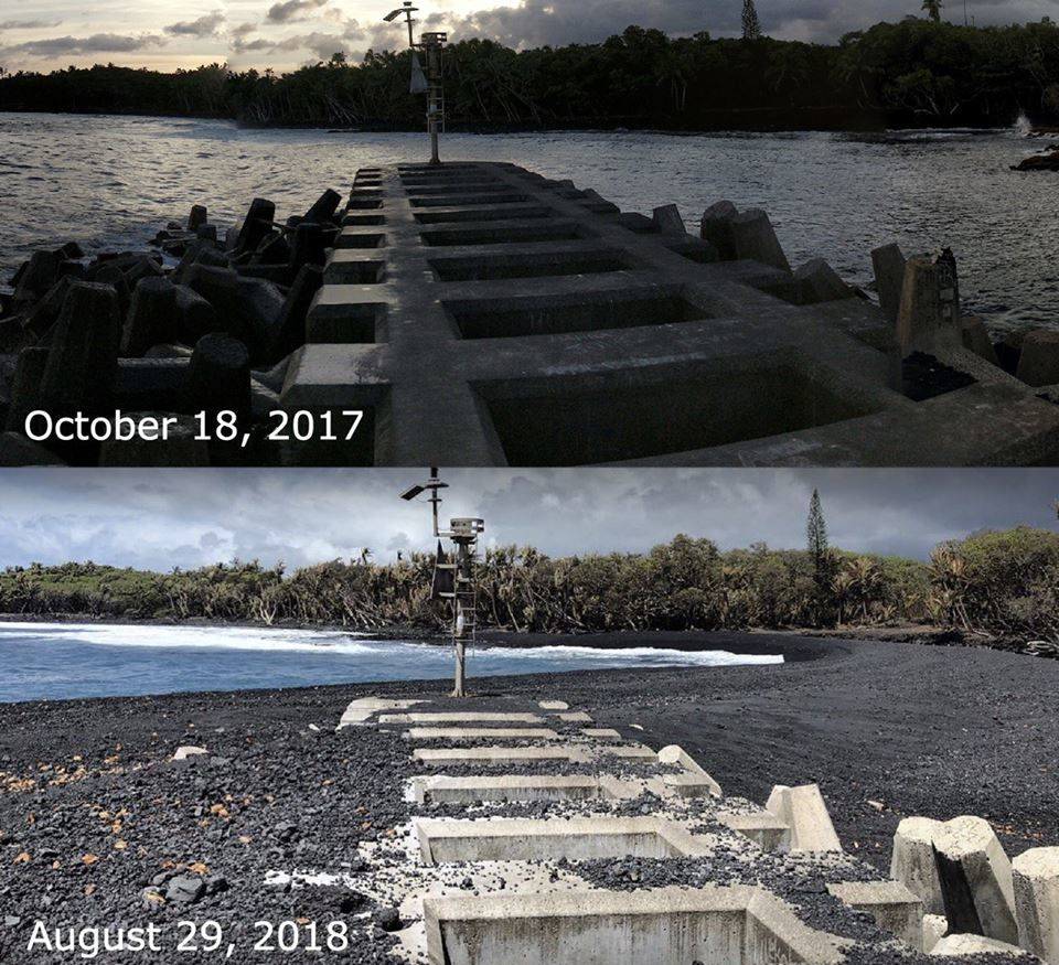 Pohoiki - Isaac Hale Beach Park - establishment of the black sand beach and situation on 18.10.2017 and 29.08.2018 - photo before, by Ryan Tinley; photo yesterday, from Kimberly Crystal Quintal, via Hawaii Tracker