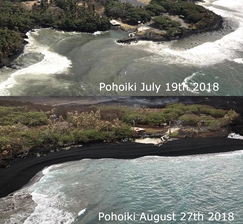 Pohoiki  - Isaac Hale Beach Park  - Situation les 19 juillet et le 27 août 2018 -  photo Ryan Finlay via ‎Hawaii Tracker