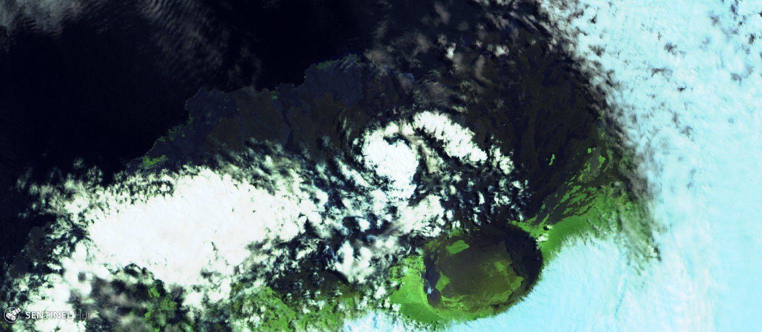 Sierra Negra - aucune anomalie thermique n'est visible sur cette image Sentinel 2 bands 12-11-4 du 25.08.2018 -  un clic pour agrandir