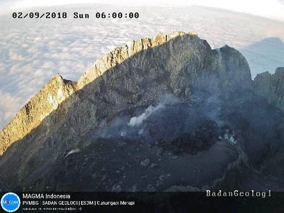 Merapi - le dôme de lave le 02.09.2018 / 6h loc. - Webcam PVMBG