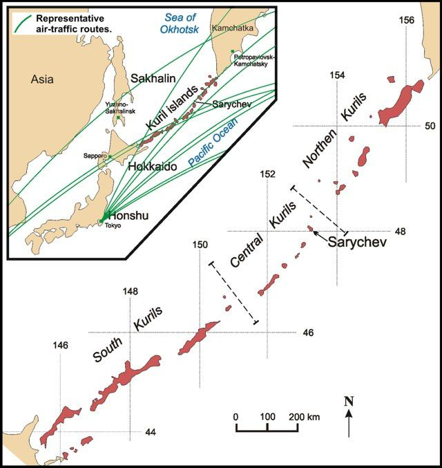 Sarychev locating on airways - Sakhalin Volcanic Eruption Response Team (SVERT). Representative aviation routes on the inset map are from Casadevall and Thompson (1995).