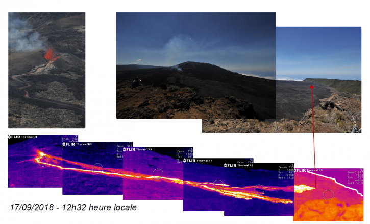 Piton de La Fournaise - situation of the cone and the lava flow on 17.09.2018 at 12:32 local / 08h32utc - Doc. OVPF