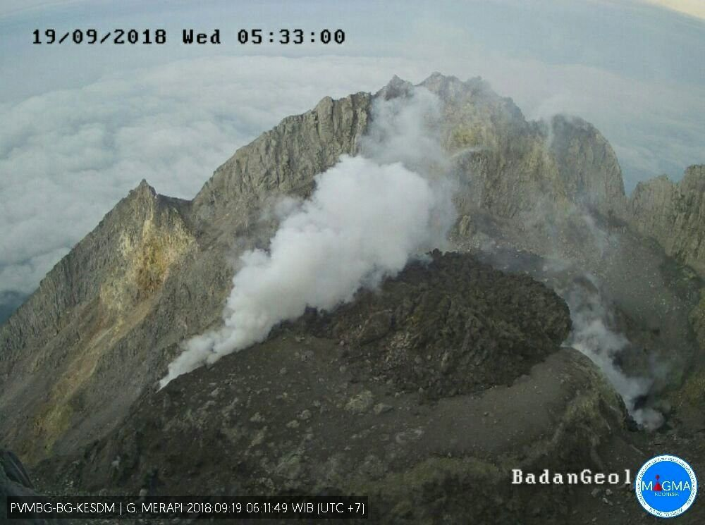 Merapi - summit dome degassing this 19.09.2018 / 5h33 - photo webcam PVMBG / Magma Indonesia