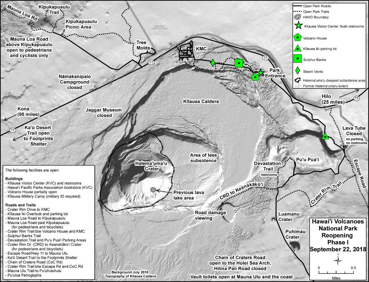 Hawai'i Volcanoes National Park - Bâtiments et routes accessibles pour la 1° phase de réouverture - un clic pour agrandir - carte NPS