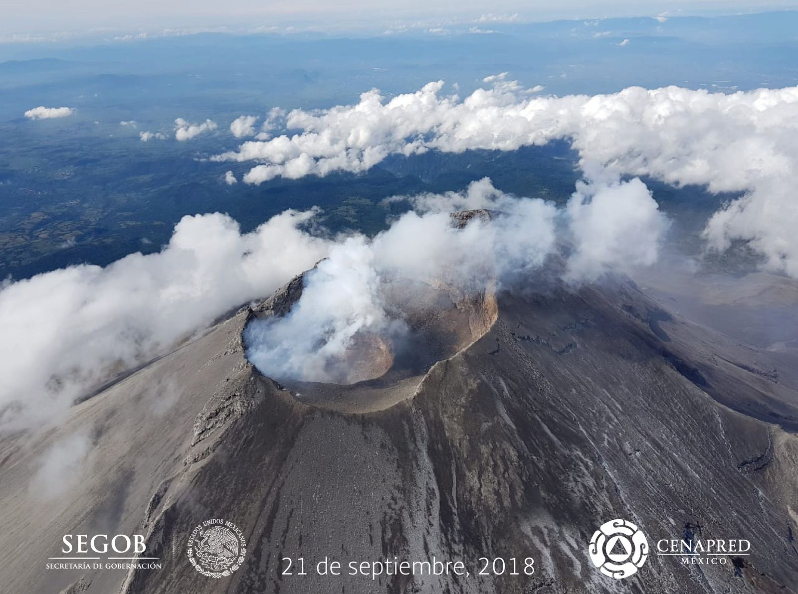 Popocatépetl - overview of 21.09.2018 with the support of the Federal Police - photo Cenapred