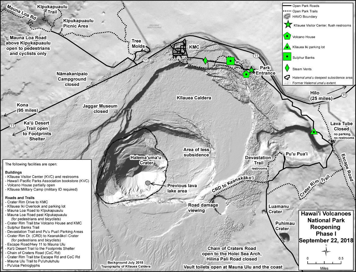 Hawai'i Volcanoes National Park - Buildings and roads accessible for the 1st phase of reopening - one click to enlarge - NPS map