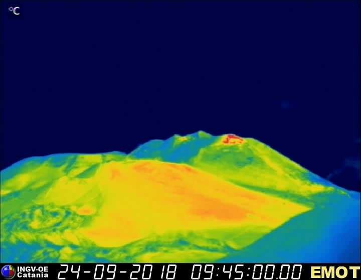 Etna 24.09.2018 / 9:45 - EMOT thermal webcam - in the absence of a scale, not easy to interpret at my level ... to note that Mirova reports a thermal anomaly between 6 and 12 MW on 24.09