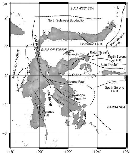 Tectonic Context on Sulawesi / Doc. USGS, and around Palu / Doc. BNPB
