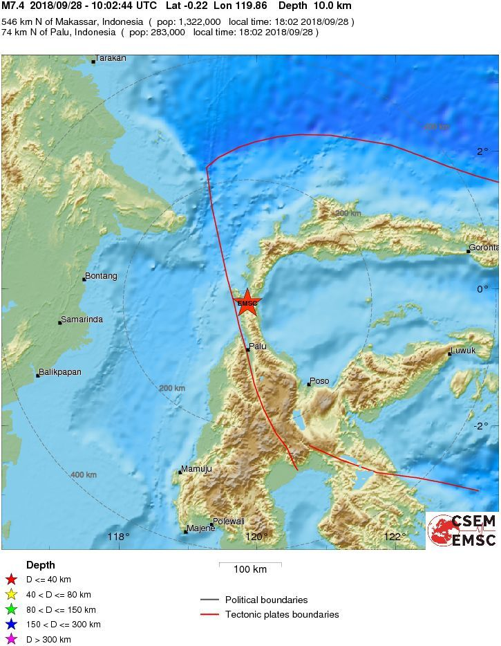 Earthquake on central Sulawesi - 28.09.2018 / 10h02 UTC - Palu - M 7.4 - Doc.EMSC