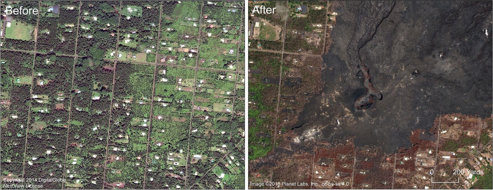 Kilauea zone de rift Est - photos satellites de Leilani Estates subdivision, avec zoom sur la fissure 8 et le cône formé - un clic pour agrandir -  Doc USGS