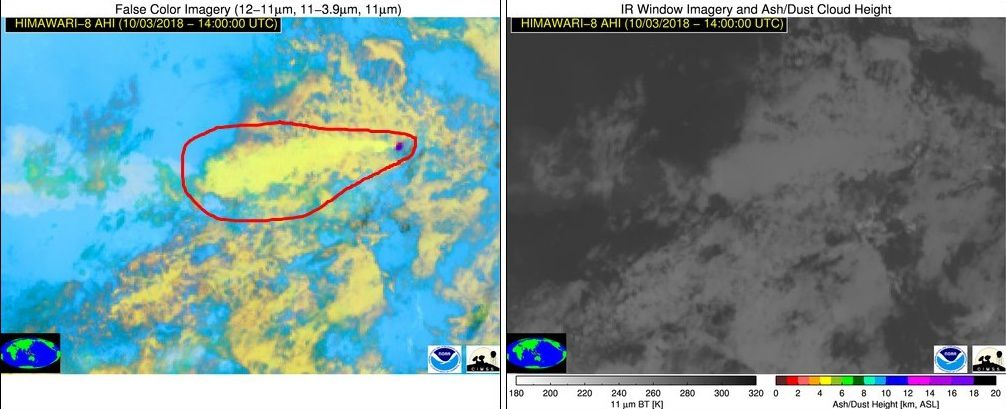 Soputan - Challenging conditions for volcanic ash detection from space in the tropical environment of Soputan, but there are signs of its presence in false-color imagery, perhaps due to differences in ice particle size in ash-seeded clouds.  Source: @NOAA/@UWCIMSS https://volcano.ssec.wisc.edu  / via Simon Carn