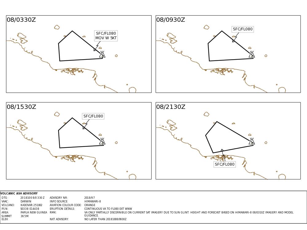 Du VAAC Darwin, Volcanic Ash advisory pour le Dukono, Manam et Kadovar.