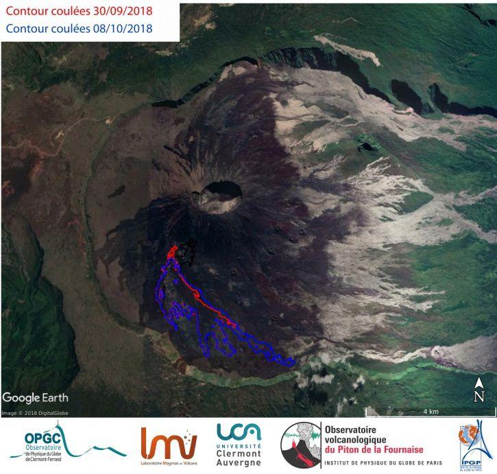 Piton de La Fournaise - Cartographie du contour des coulées de lave entre le 30/09/2018 (en rouge) et le 08/10/2018 (en bleu) déduite d'images de cohérence InSAR. (© LMV/OPGC-OVPF/IPGP)