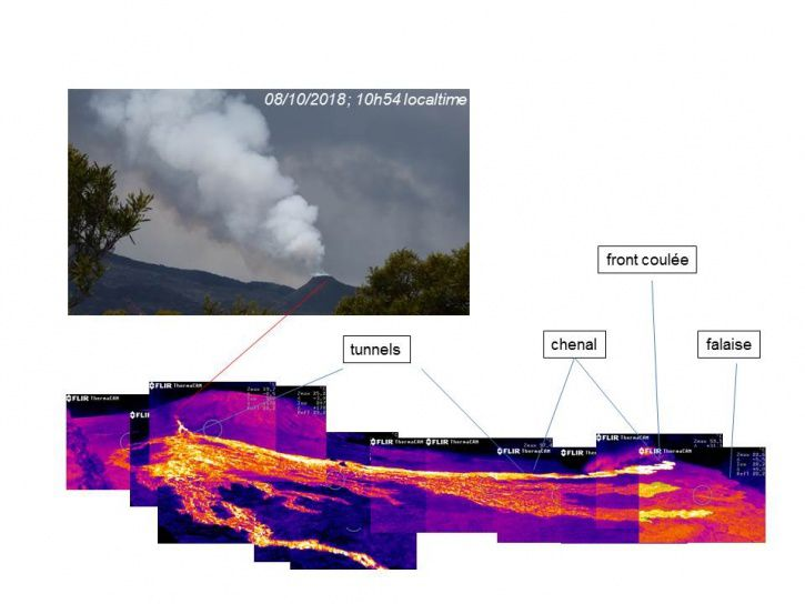 Piton de La Fournaise - Thermal imaging of the eruptive site and the lava field taken from Piton Bert on 08/10/2018 around 10h50 local time. (© OVPF / IPGP)