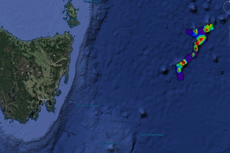 Localisation au large de la Tasmanie de la chaîne de seamounts - Doc. Google Earth , via ABC news