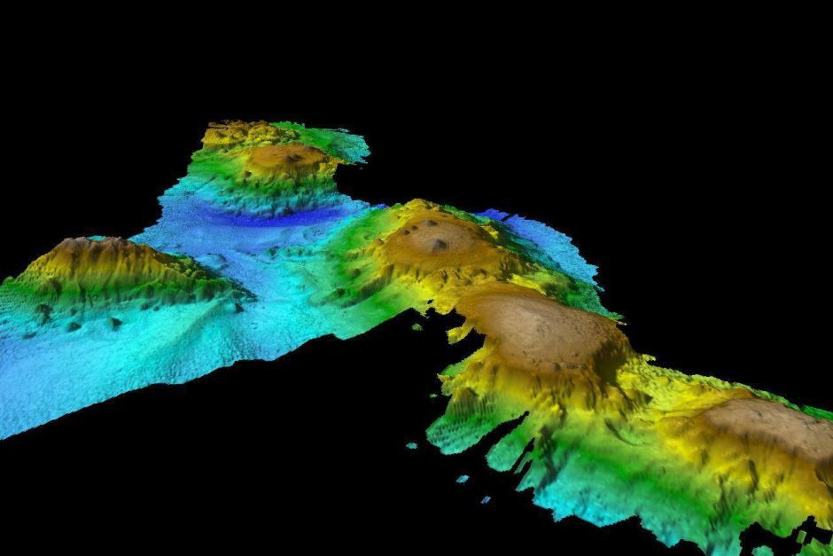 Bathymetry revealing the morphology of seamounts off Tasmania - image CSIRO