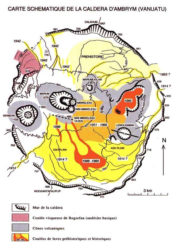 Carte schématique de la caldeira d'Ambrym et position des cratères et lacs de lave - Doc. Futura-Sciences