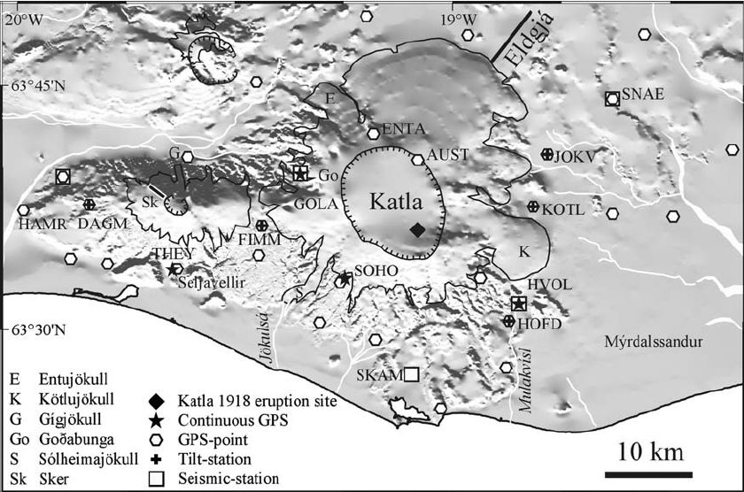 South Icelandic seismic and geodesic network with its glacial-covered volcanic massifs, Eyjafjallajökull and Myrdalsjökull (Katla) - Doc Research gate