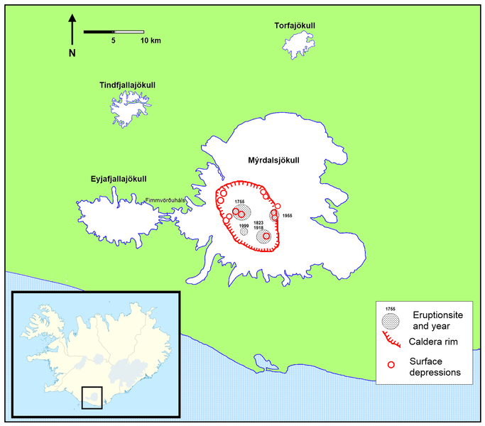 Mýrdalsjökull and Katla - location of eruptive sites and dates of activity; Caldeira boundaries and depressed areas
