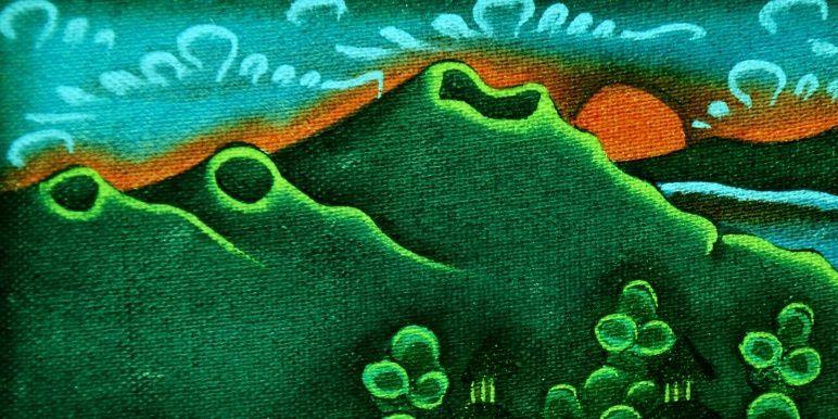 Batur - peinture sur toile (14 x 17 cm) , détail - artiste inconnu - photo © Bernard Duyck