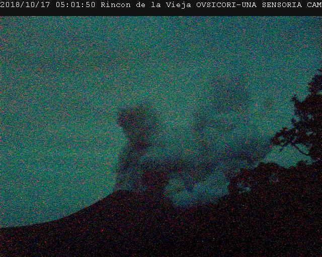 Rincon of La Vieja - 17.10.2018 / 05h01 loc. - OVSICORI-UNA y cortesía de Campbell Scientific Centro America y Caribe-Sensoria Land of Senses ubicada 3.5 km to the north of Cráter activo del Rincón.