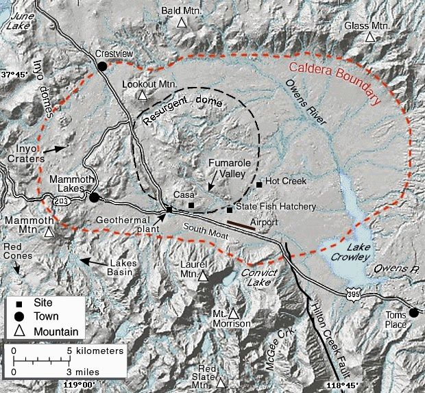 The Long Valley Caldera, its various apparent structures, and Crowley Lake - Doc. USGS