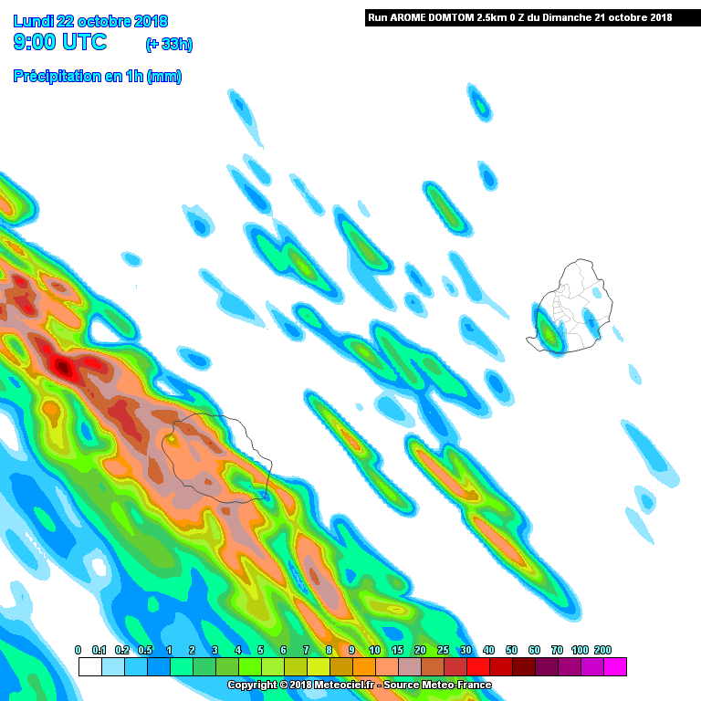 Reunion Island - precipitation report in mm / hour for the 22/10/2018 - Reunion Weather