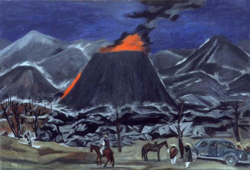 Paricutín, 1949 – huile sur toile d'Alfredo Zalce – 54 sur 79 cm