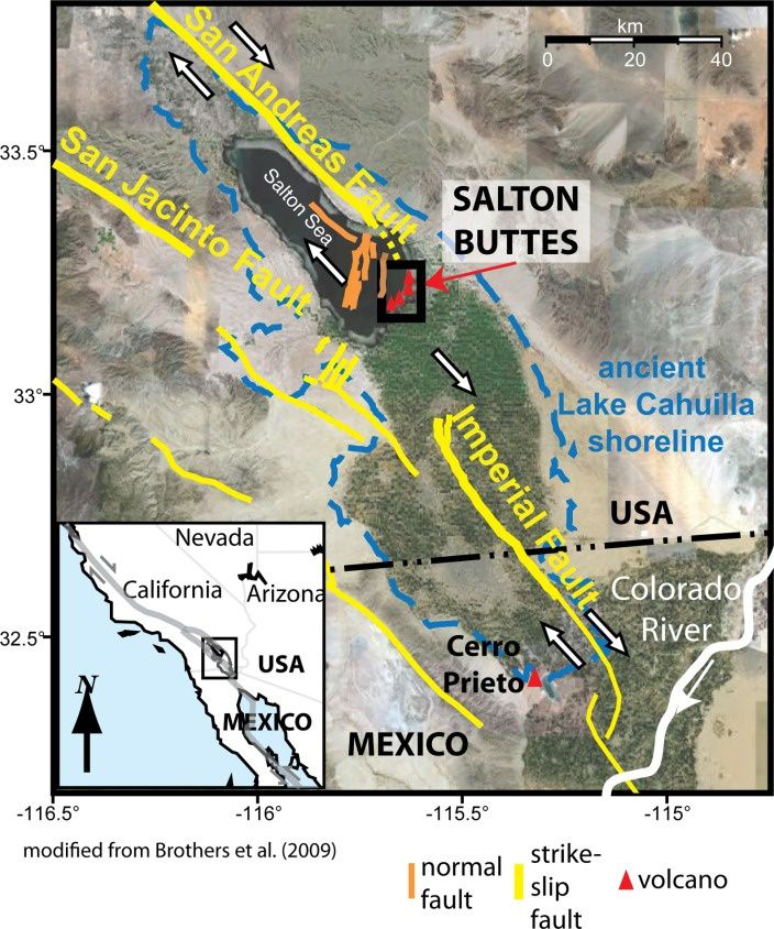 Location of Salton Buttes domes in a pull‐apart basin between right‐lateral strike slip faults along the Pacific‐North American plate boundary.