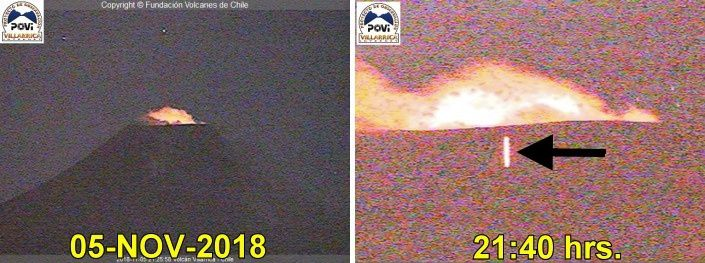 Villarica - Night glow and bomb on the flank of the volcano on 05.11.2018 / 21:40 - Doc.POVI