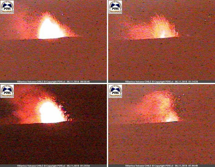 Villarica - Strombolian activity from 06.11.2018 between 0h50 and 01h44 - Doc.POVI