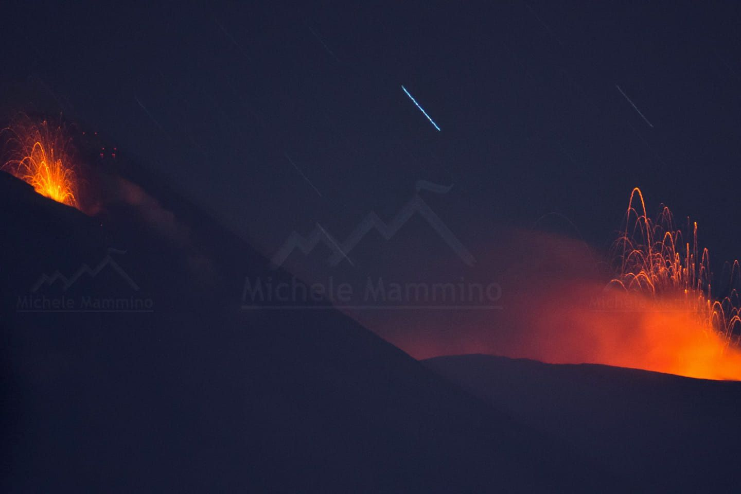 Etna - strombolian activity at craters NE and SE - photo Michele Mammino