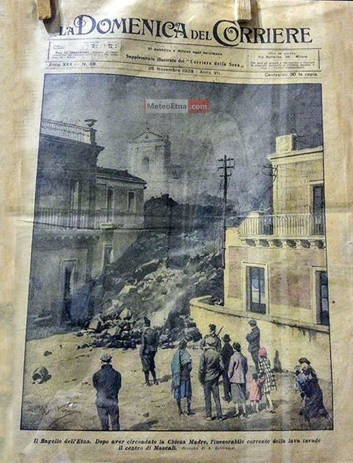 The front page of the newspaper La Domenica del Corriere on November 2, 1928 - via MeteoEtna