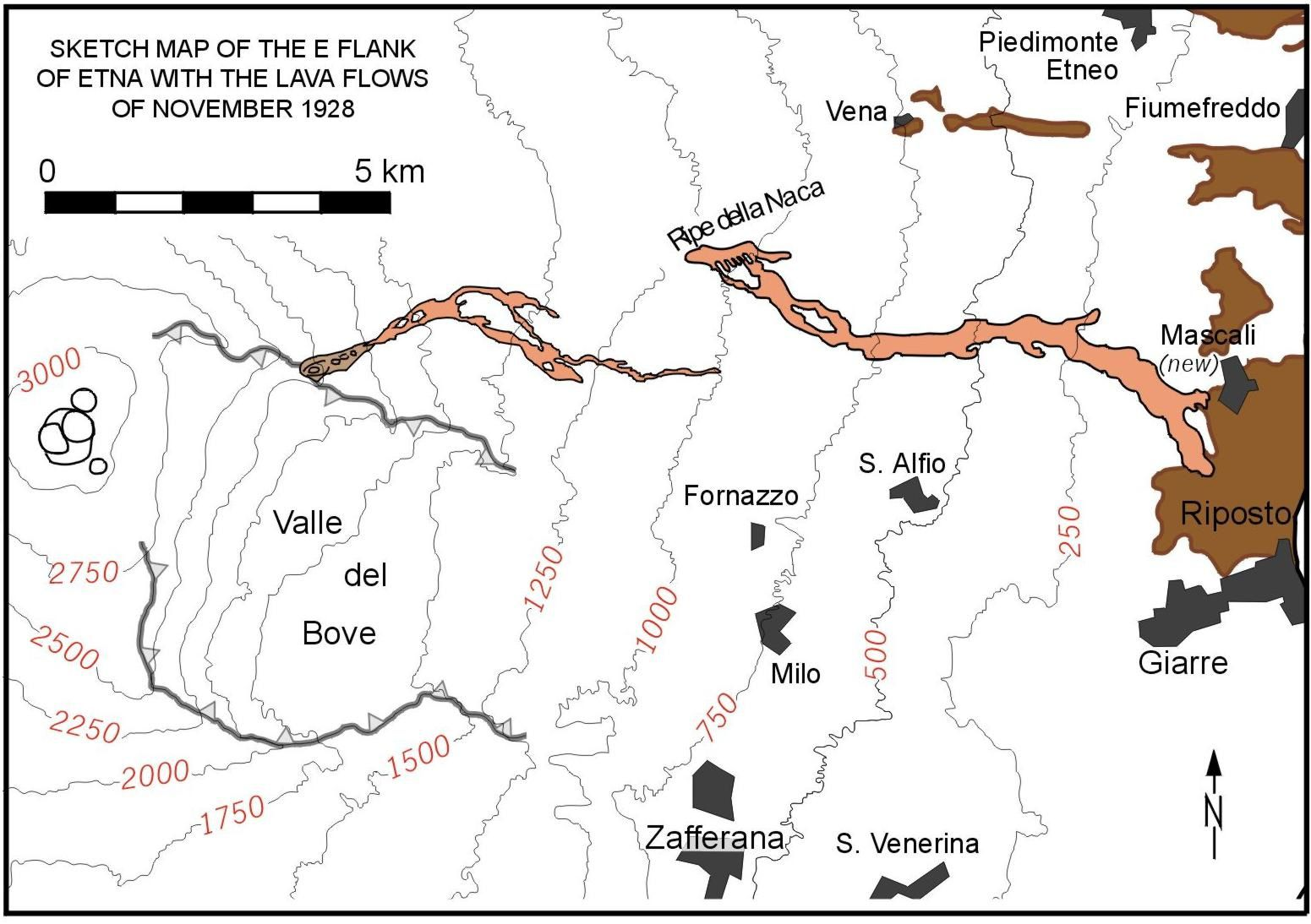Map of the Flows of the 1928 Eruption - Doc. INGV Catania