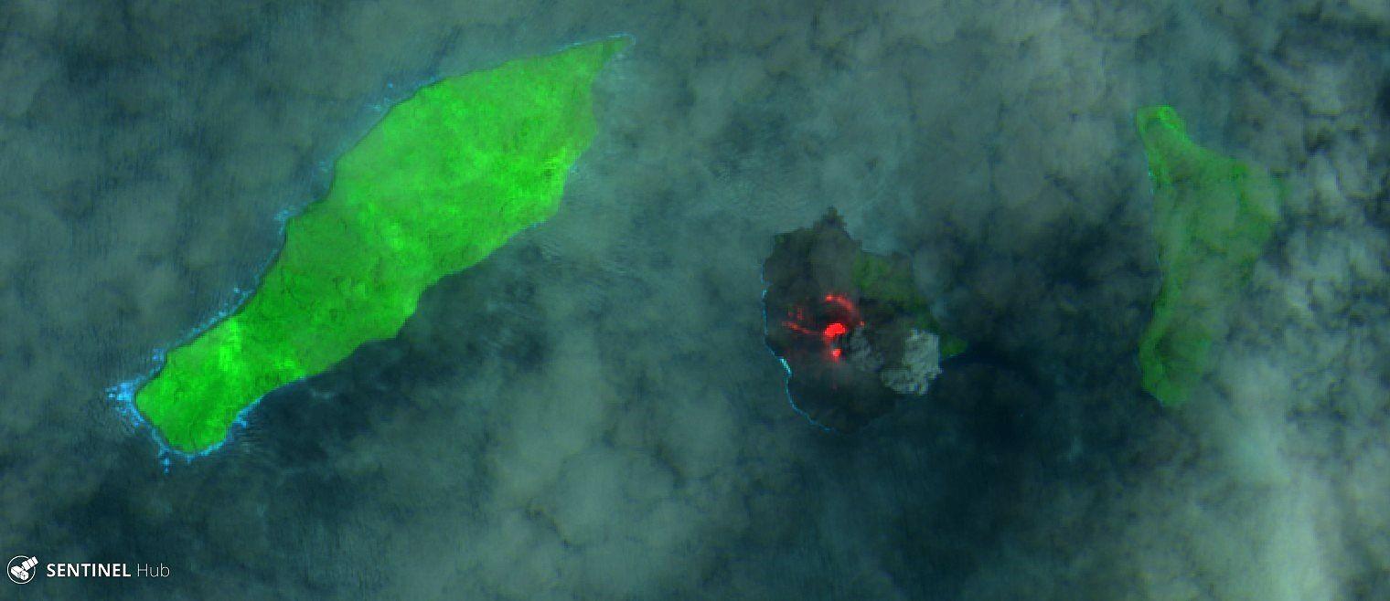 Anak Krakatau - image Sentinel-2 SWIR  14.11.2018 - one click to enlarge