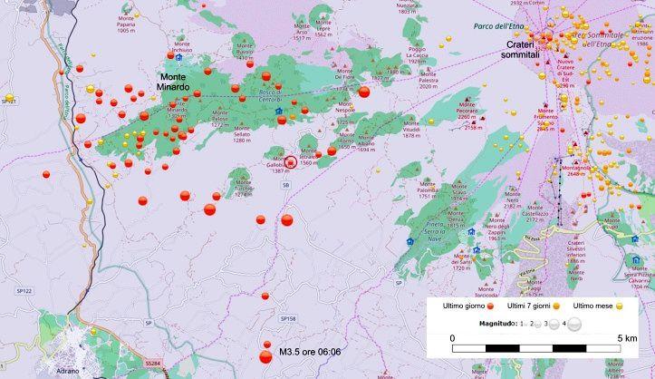 Carte des épicentres de l'essaim de séismes du 20 novembre 2018 sur le versant ouest de l'Etna. Source: Groupe d'analystes de l'observatoire Etneo, Catane (Sismoweb) http://sismoweb.ct.ingv.it/index.php