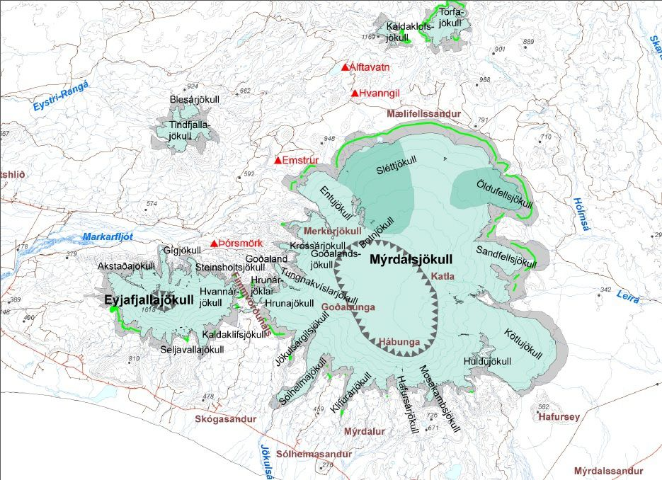 Le Sólheimajökull  est un des glaciers-émissaires au sud du Myrdalsjökull, qui recovre le volcan Katla