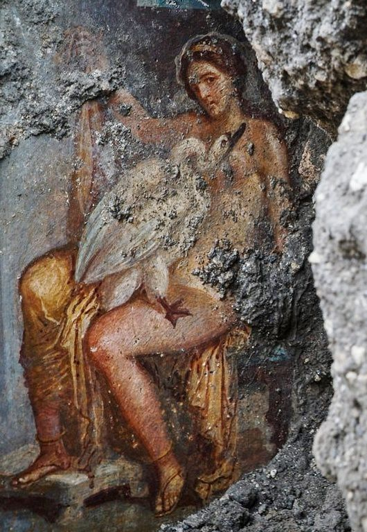 The fresco of Pompeii depicts the lovesof the queen of Sparta Leda with Zeus who took the form of a swan. - photo Cesare Abatte / Archaeological Park of Pompeii