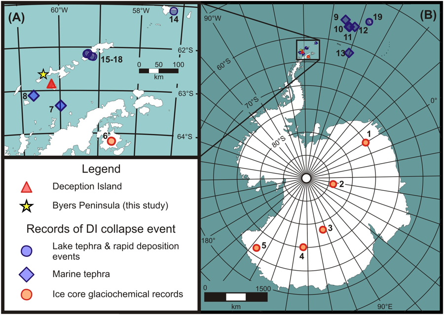 Above :Location map showing (A) Deception Island, Byers Peninsula and the Antarctic Peninsula; and (B) sites across Antarctica where the Deception Island caldera collapse event is recorded by tephra and/or rapid post-seismic sediment deposition in ice, lake and marine sediment cores.   Under : (A) Map of Deception Island showing the general geology and outcrop locations of the Outer Coast Tuff Formation (OCTF) (modified from ref.10)  (B) Image of the Vapour Col succession illustrating the contact between the OCTF and post-caldera deposits; (C) Detail of OCTF deposits on Deception Island; (D) detail of Tephra T3 from Byers Peninsula (Lake Limnopolar, core LIM08_F2B), with alternating organic and mineral sedimentation below T3 and rapid, massive sediment above; note the coarseness of the tephra Doc. The timing and widespread effects of the largest Holocene volcanic eruption in Antarctica