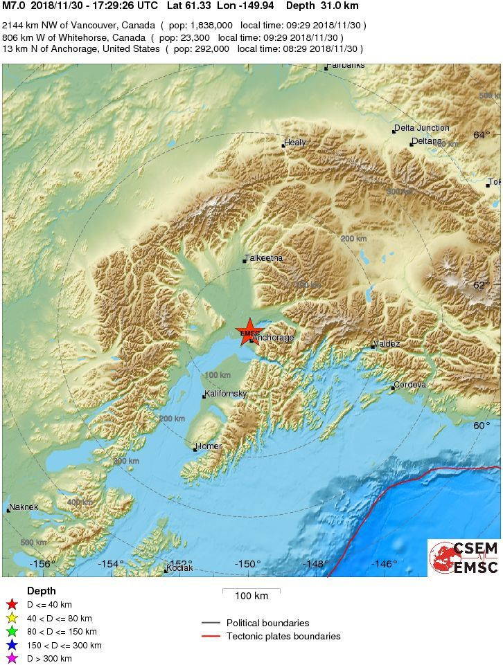 Alaska - epicenter of the M 7.0 earthquake on 30.11.2018 / 17h29 - Doc. EMSC