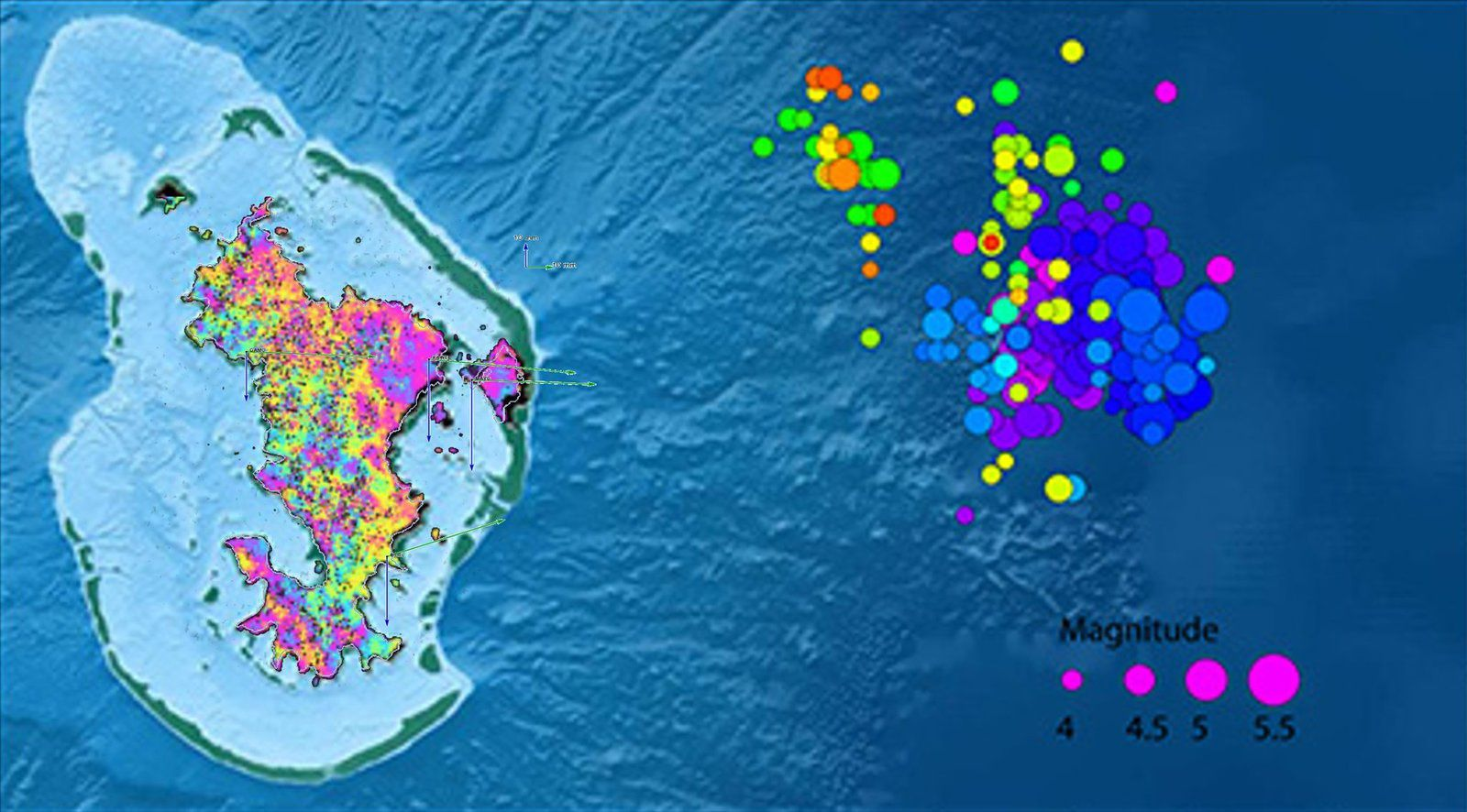 Mayotte - essaim sismique, image InSAR , déplacements  / earthquake swarm, #InSAR, displacement crude composite. - Matarikipax Twitter