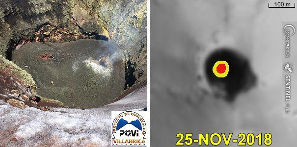 Villarica - pyroclastic cone at the bottom of the crater - POVI images 25.11.2018