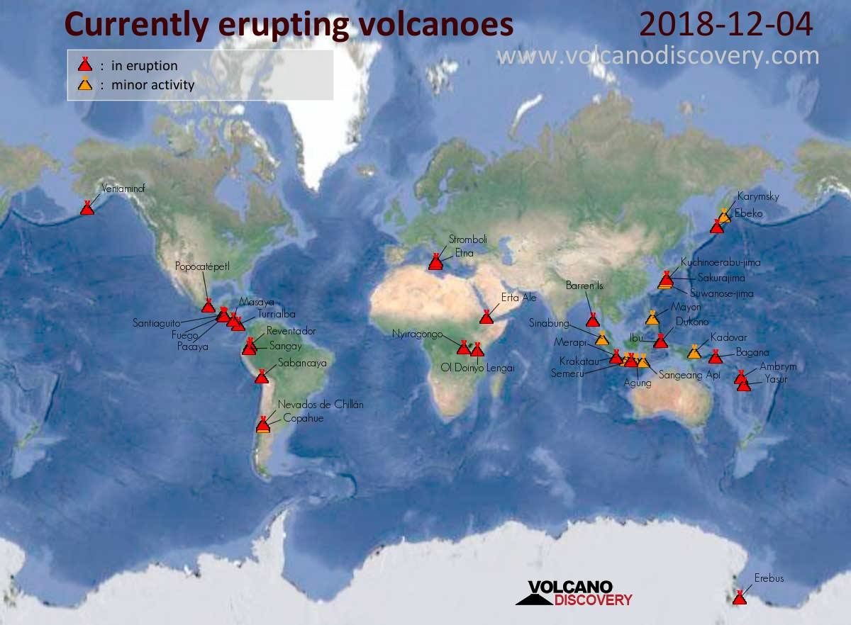 Volcanoes in activity on 04.12.2018 - Doc. VolcanoDiscovery