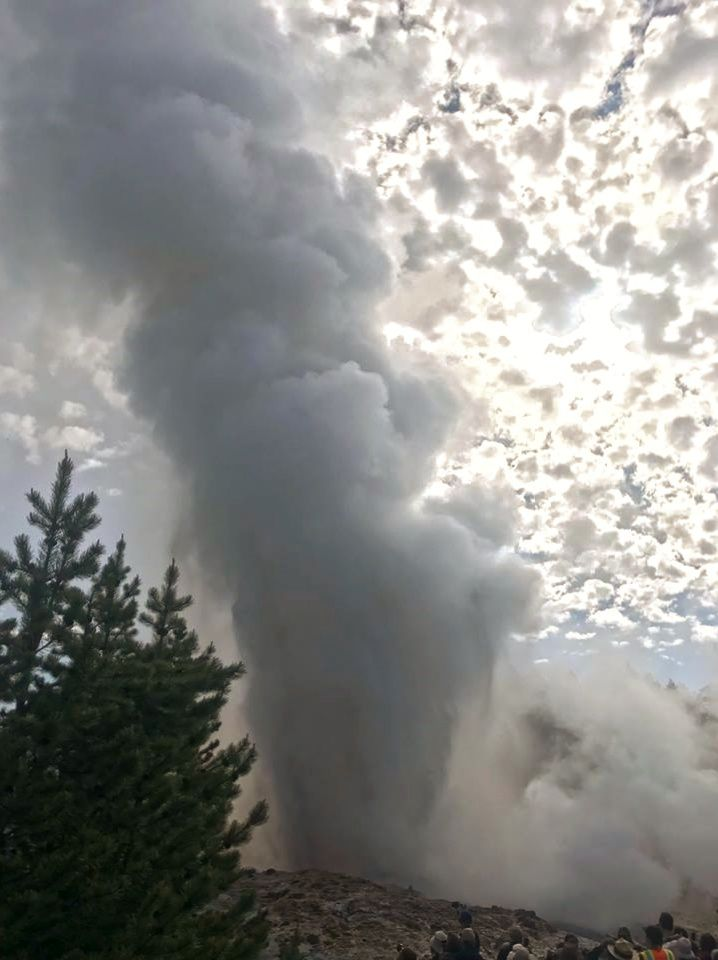 Aqueous eruption of Steamboat geyser on 04.06.2018 - Photo by Jamie Farrell, University of Utah via USGS