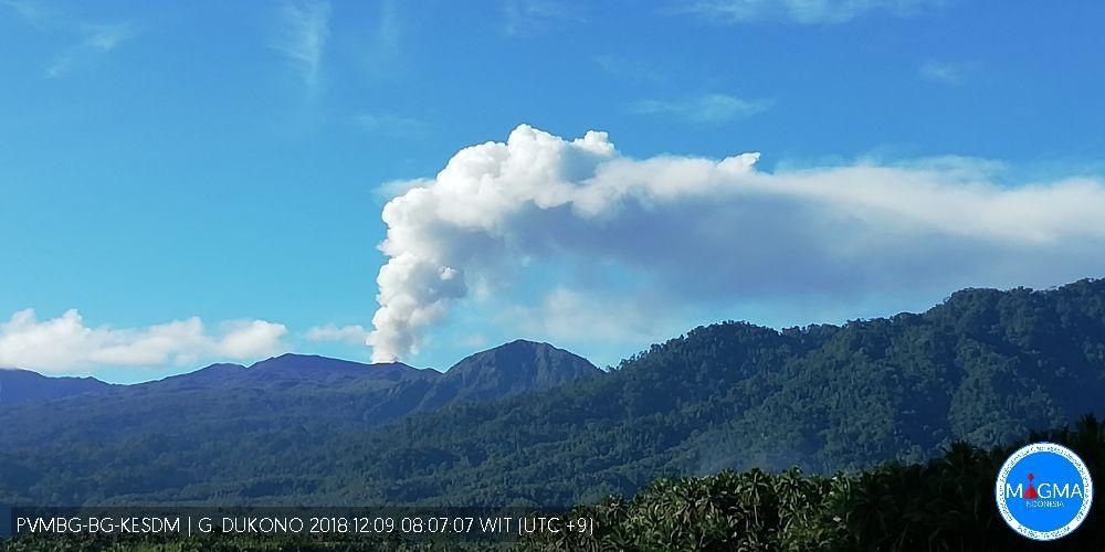 Dukono - white plume on 09.12.2018 / 8:07 AM WIT - photo Magma Indonesia