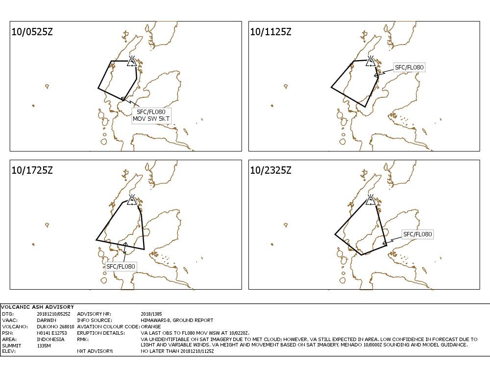 Dukono - volcanic ash adivisory du 10.12.2018 / à 5h25 -  Doc. VAAC Darwin IDY65290