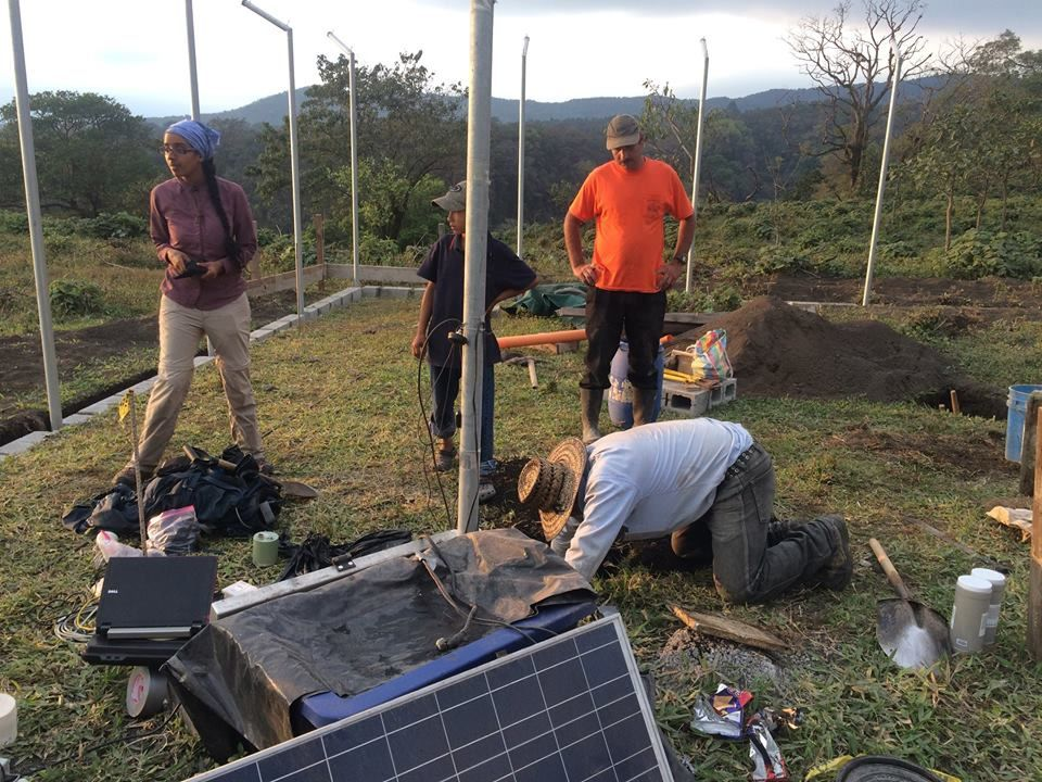 Fuego - work of the teams from the University of Liverpool, Sheffield and Insivumeh in October - December on a new measuring station - photo via Armando Pineda