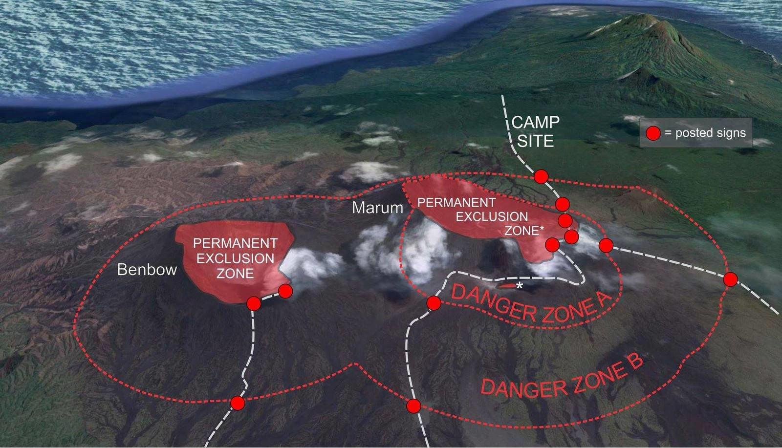 Ambrym - danger zones for Benbow and Marum volcanoes - Doc. VMGD 15.12.2018