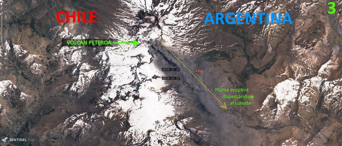 Peteroa - dispersion du panache en direction de l'Argentine le 15.12.2018 - Doc. Volcanes de Chile