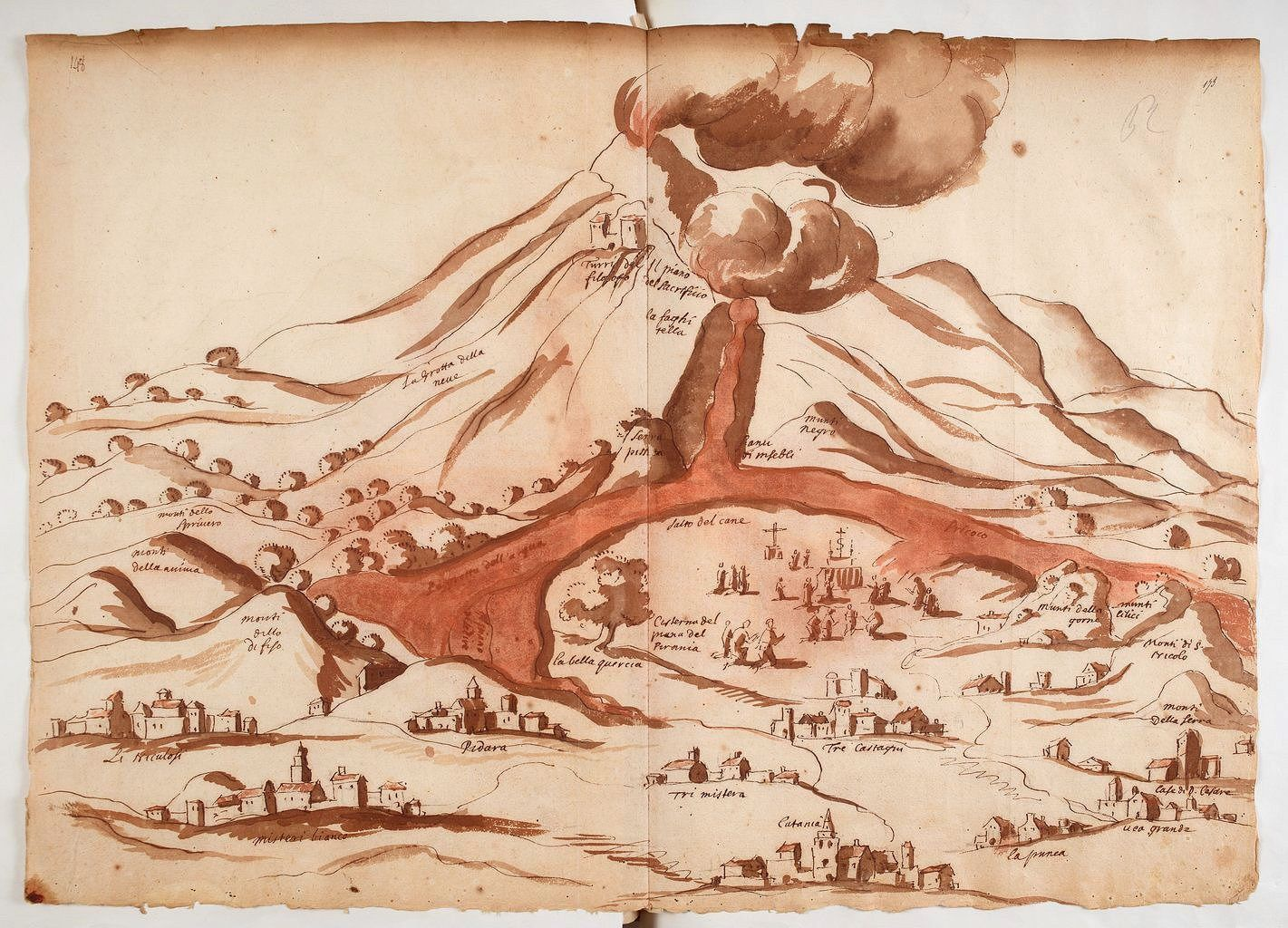 Monochromatic map in ink and watercolor sepia A. Leal preserved at the National Library of France. - 47.3 x 33.2 cm - illustrating the eruption of Etna during his excursion on December 8, 1635, and attached to his correspondence. - a click to enlarge